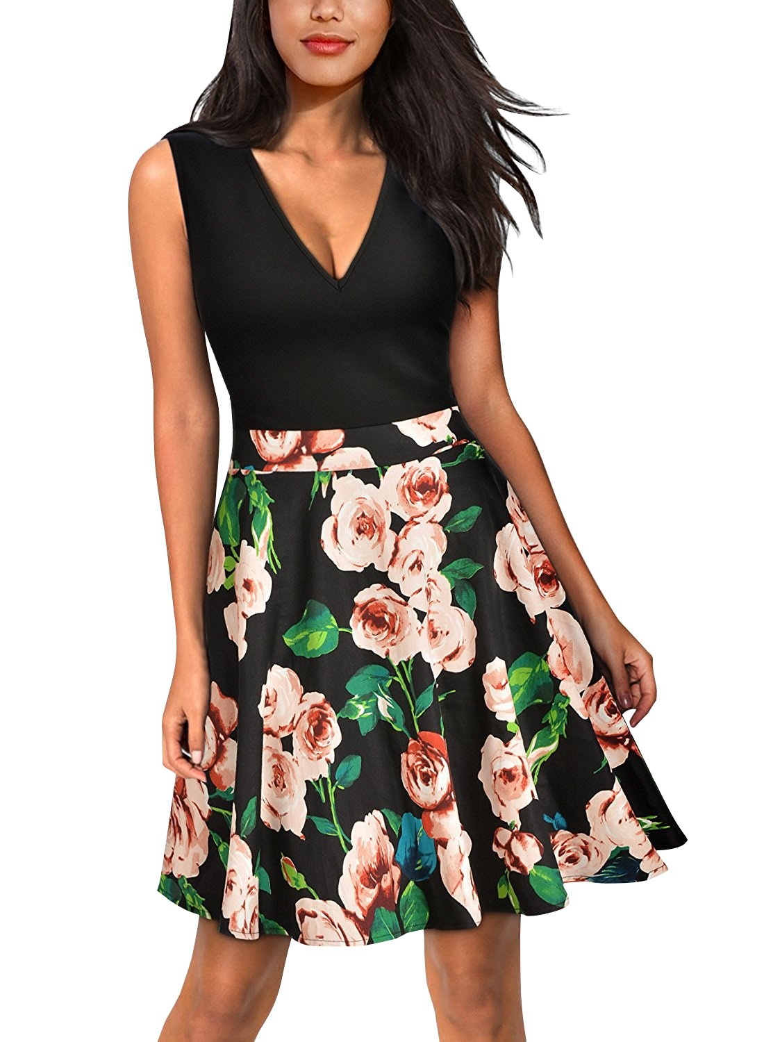 Yidarton Women's Summer Casual V Neck Flare Floral Contrast Evening Party Short Mini Dress Black S by Yidarton (Image #1)