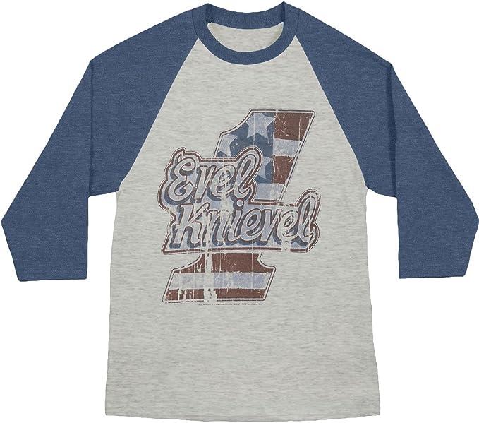 Evel Knievel Logo Tee Gray Adult Raglan Baseball T-Shirt