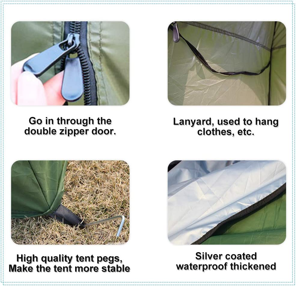 tienda de campa/ña port/átil que cambia de privacidad con bolsa de transporte para camping Tienda de campa/ña plegable para inodoro o ducha 120 x 120 x 190 cm camping playa al aire libre inodoro