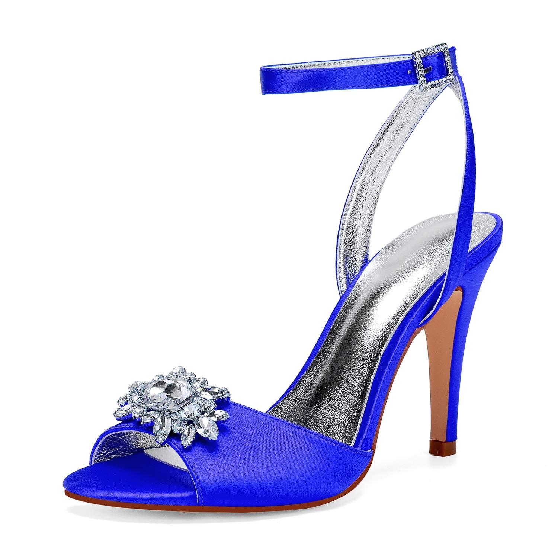 bleu LHWAN chaussures de mariée des femmes à à bout ouvert talons sandales en satin croisées bride à la cheville strass  pas cher