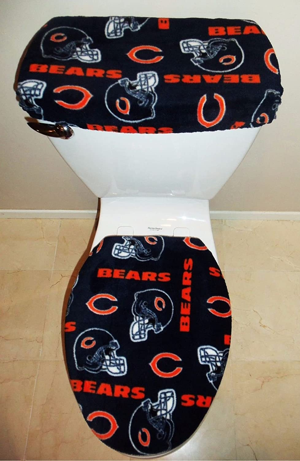 Wondrous Nfl Chicago Bears Fleece Fabric Toilet Seat Cover Set Bathroom Accessories Ibusinesslaw Wood Chair Design Ideas Ibusinesslaworg