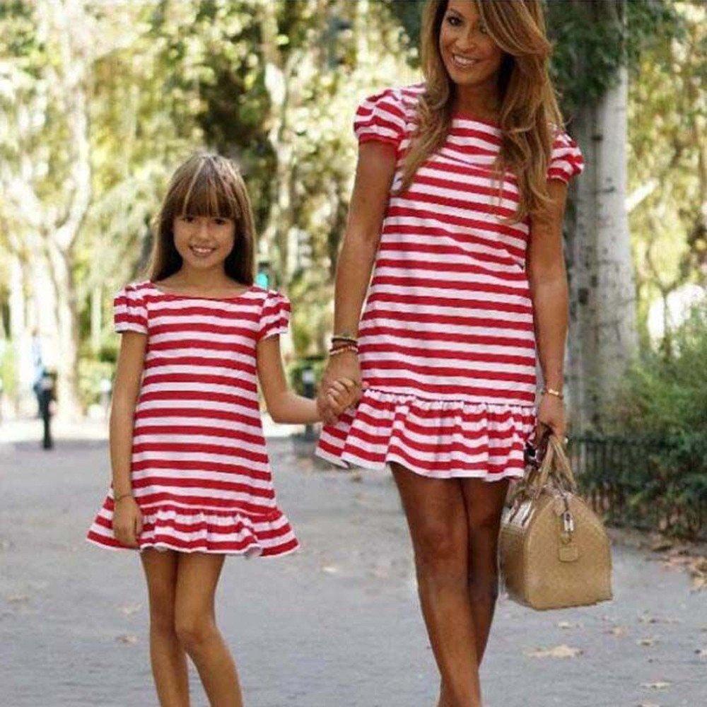 40530e0e6497 Amazon.com: WYTong Mommy and Daughter Cute Stripe Mini Dresses Casual T-Shirt  Dress Short Sleeve Sundresses: Clothing