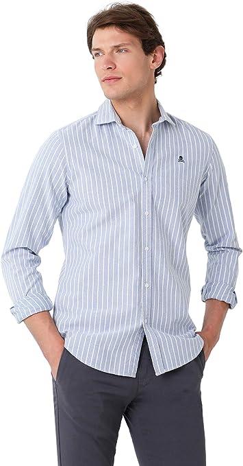 Scalpers Camisa Slim FIT Pinzas - Skyblue/White Stripes / 39: Amazon.es: Ropa y accesorios
