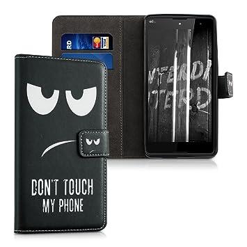 kwmobile Funda para Wiko Robby - Carcasa de Cuero sintético con diseño Dont Touch my Phone - Case con Tarjetero