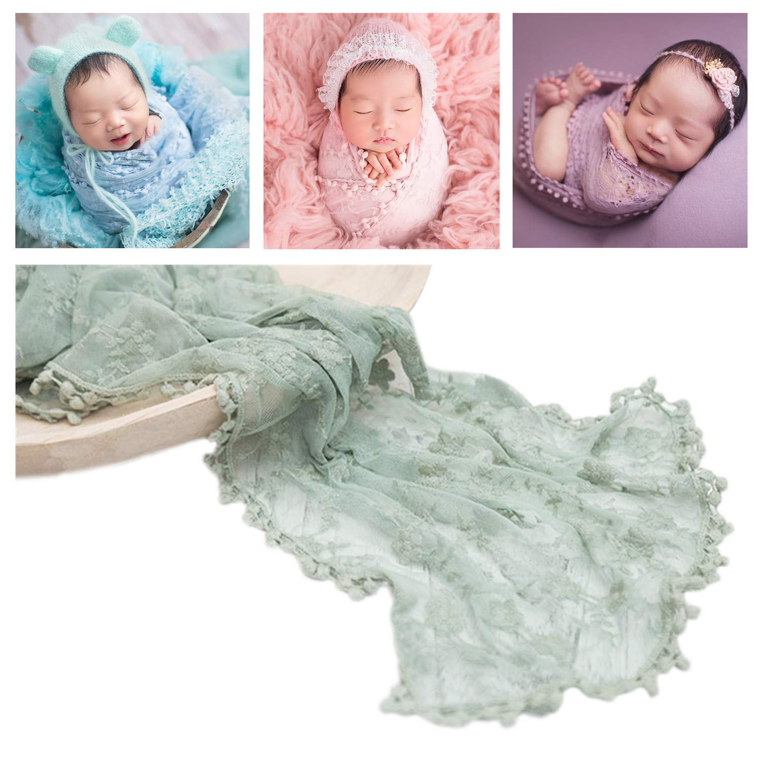 Amazon com newborn photography wrap lace wrap blanket for baby photo props 16 x 70 inch newborn photo shoot outfits blue baby