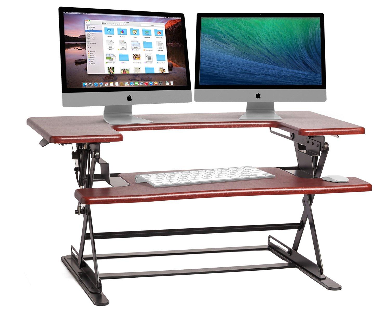 Halter ED-600 Preassembled Height Adjustable Desk Sit/Stand Elevating Desktop - Cherry