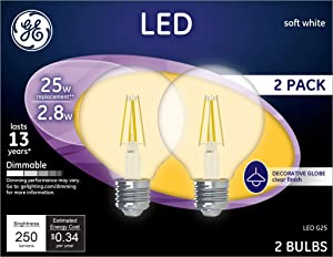 GE Lighting 23049 Clear Finish Light Bulb Dimmable LED G25 Decorative Globe 2.8 (25-Watt Replacement), 250-Lumen Medium Base, 2-Pack, Soft White, 2 Piece