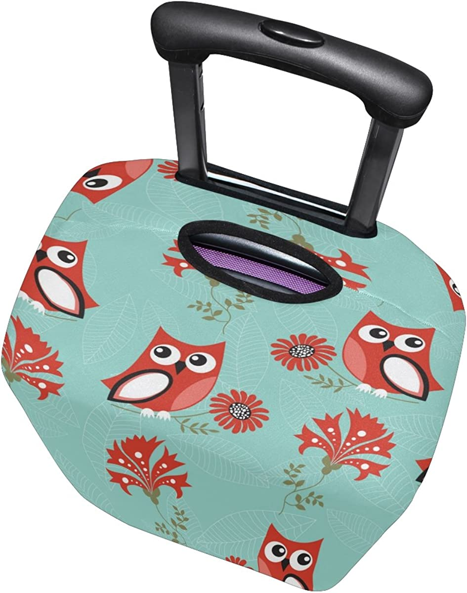 LAVOVO Owls Flowers Luggage Cover Suitcase Protector Carry On Covers