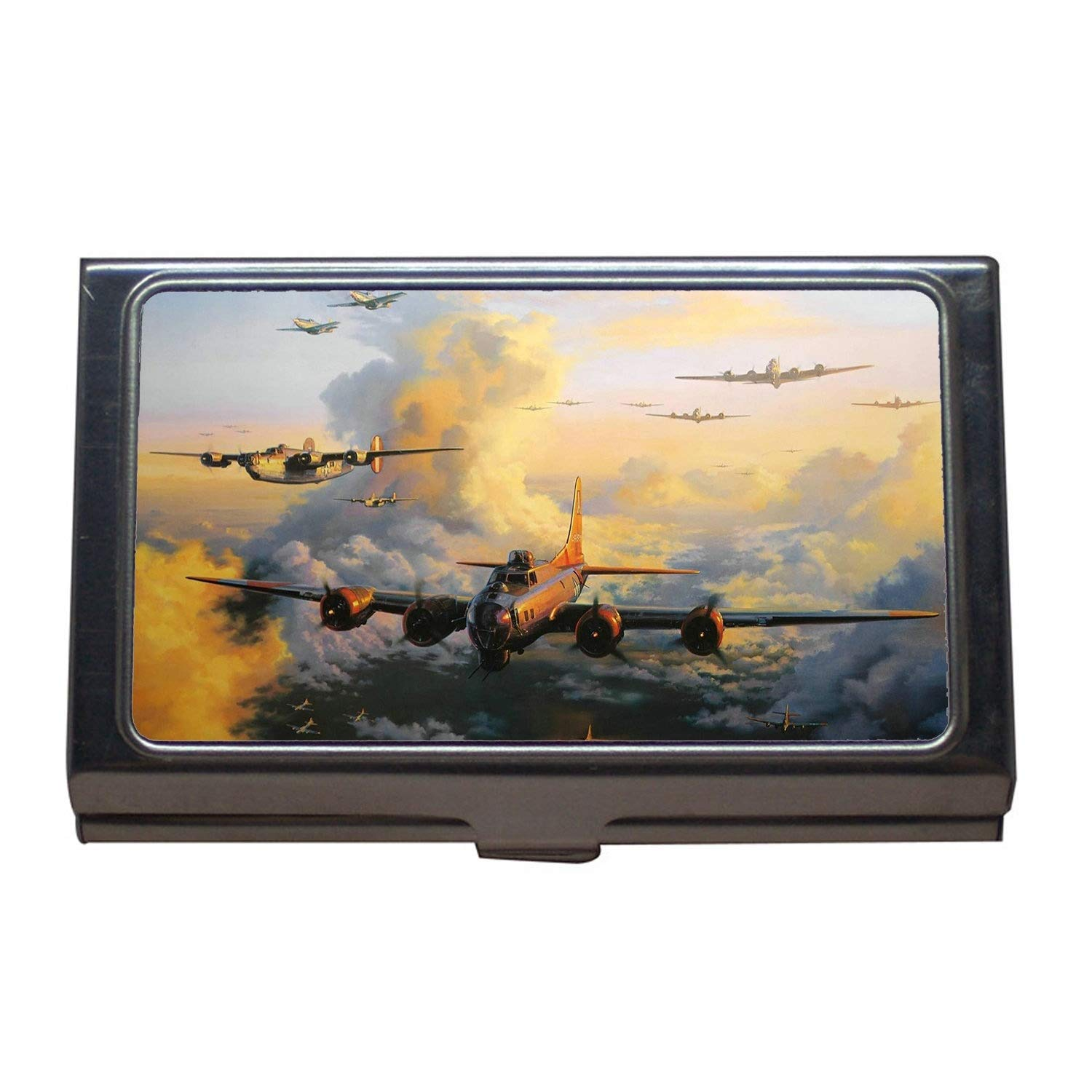 World war Aircraft Business Name Card Holder,g Fighters rtv,Business Card Case Stainless Steel