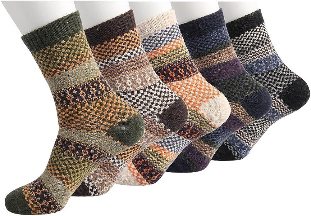 5 Pairs Women Wool Thermal Warm Dress Casual Warm Solid Winter Socks Comfortable