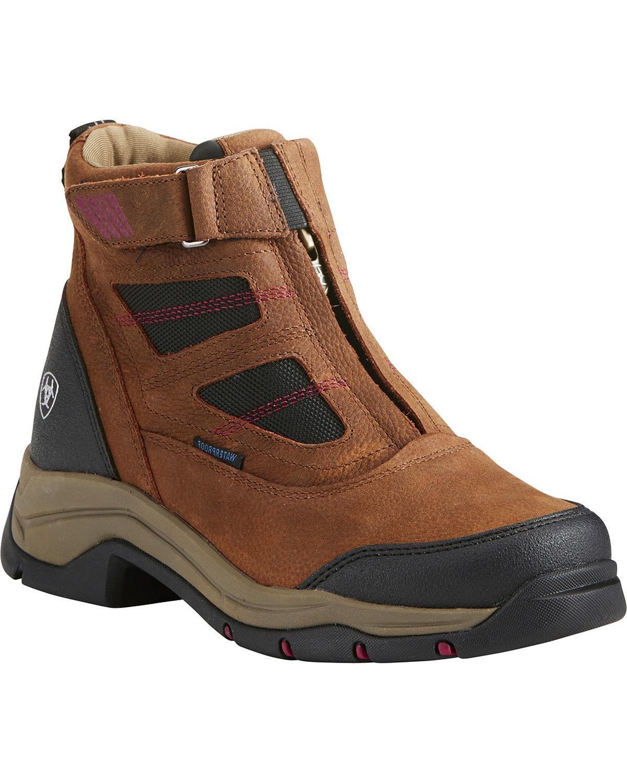 Ariat Women's Terrain Pro Zip H2o Waterproof Boot Round Toe Brown 10.5 M