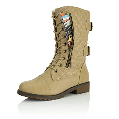 9267f3a169c DailyShoes Women s Military Lace Up Buckle Combat Boots Mid Knee High  Exclusive Quilted Credit Card Pocket