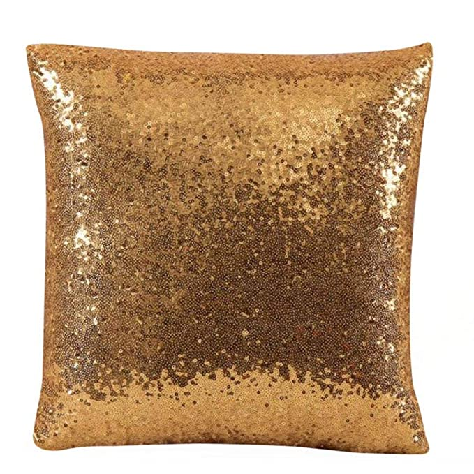 JiaMeng Otoño Lentejuelas de Brillo de Color sólido Throw Pillow Case Funda de Almohada para cojín