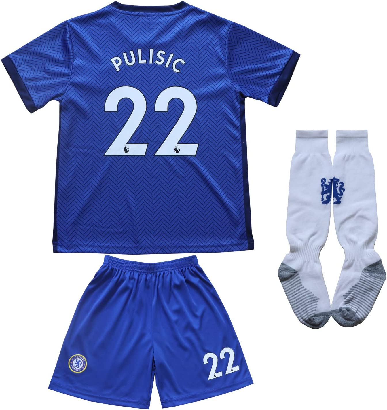 KID BOX 2020/2021 Chelsea Home Blue #22 Christian PULISIC Football Soccer Kids Jersey Shorts Socks Set Youth Sizes