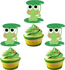 Green Glitter Frog Cupcake Toppers,Princess Frog Food Picks, Rainforest Party Decorations,Frog Birthday Baby Shower Cake Decor,Set of 24