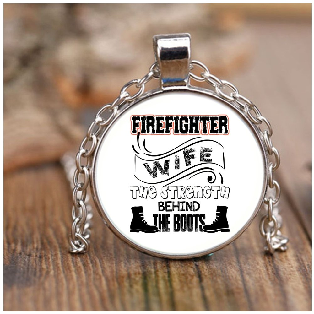COLOSTORE I'm A Firefighter's Wife Necklaces, The Strength Behind The Boots Necklaces (Necklace - Nickel - White)