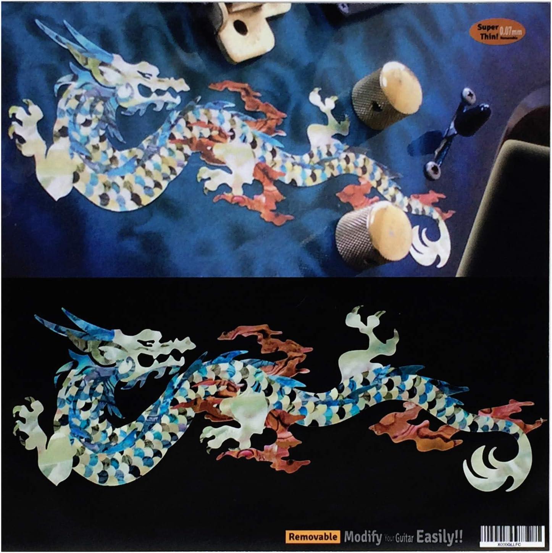 Calcomanías con incrustaciones de dragón de fuego (perla blanca) para guitarra y bajo