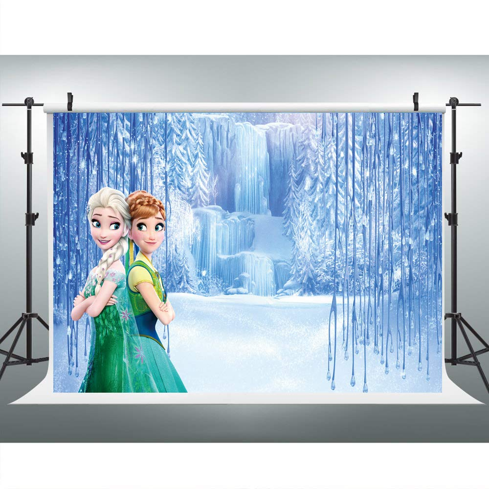 Elsa and Anna Princess Photography Backdrop Happy Birthday for Girls Party Customized Vinyl Photo Background 7x5ft Wonderland Frozen Photo Background Kids
