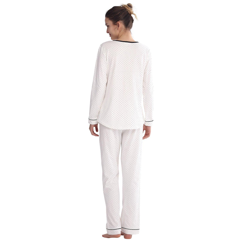 Keyocean Women Pajamas Set All Cotton Long Sleeve Long Pant Soft Cozy PJ  Sets Sleepwear Nightdress for Women at Amazon Women s Clothing store  2461df5a2
