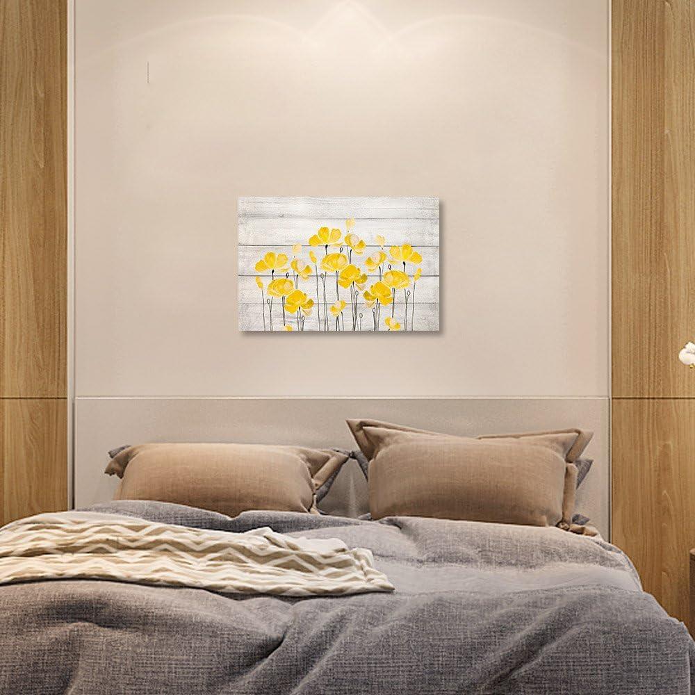 SUMGAR Impressions sur Toile pour Le Salon Jaune ou dor/é Art Mural Style Moderne 40 x 60 cm 60 x 40 cm Coquelicot Bleu Sarcelle