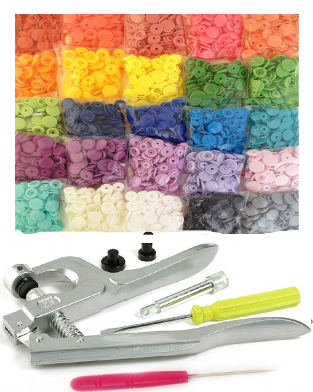 500 Sets 25-Color Original KAMsnaps KAM Snap Press Pliers Plastic Snaps Starter Pack No-Sew Button Fastener Setter Hand Tool for Cloth Diapers Bibs by KAMsnaps