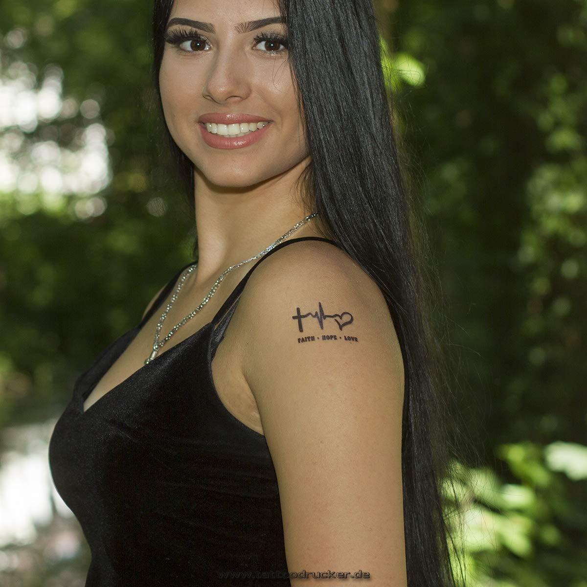 5 X Faith Hope Love Tattoo Black Temporary Cross Puls Heart Tattoo Symbol 5