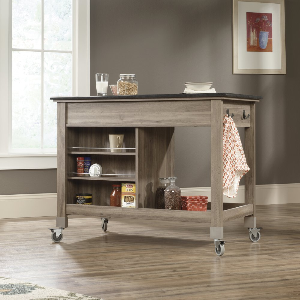amazon com sauder mobile kitchen cart in salt oak kitchen