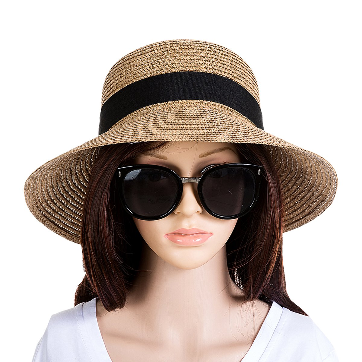 Annie Women's Cute Summer Sun Hat Brim UPF 50 Protection Straw Beach Hat (Khaki)