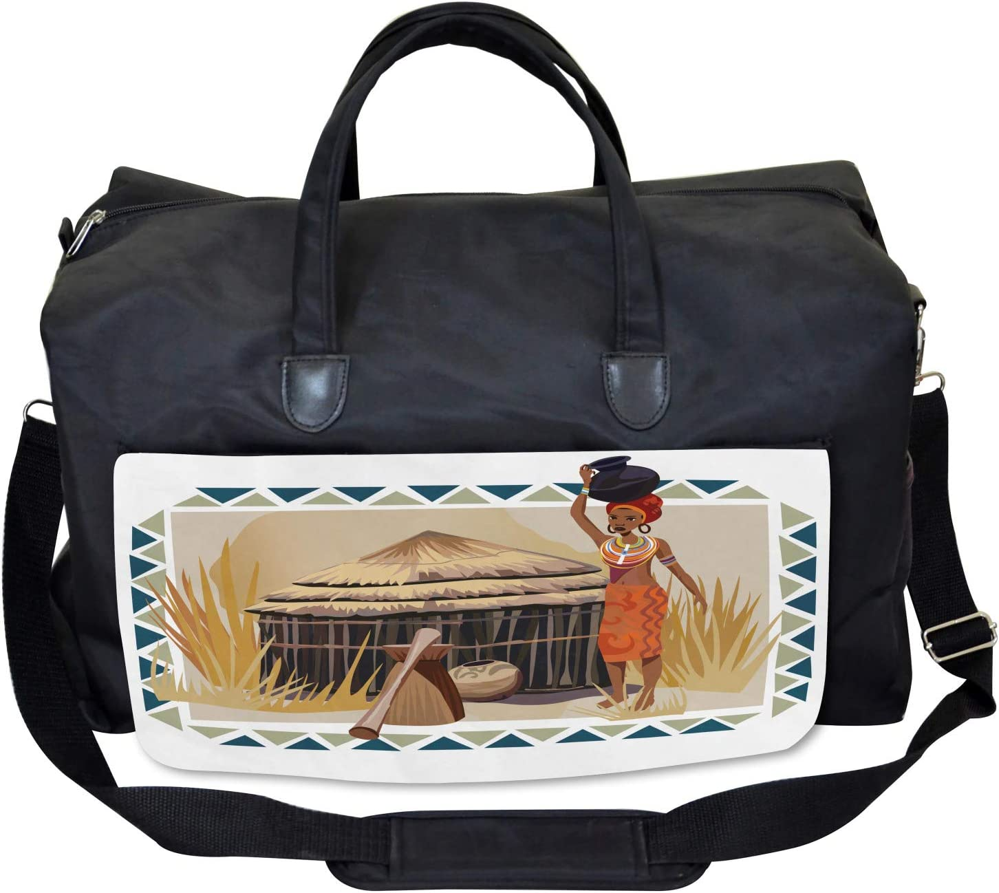 Ambesonne African Gym Bag Native Ethnic Lady Large Weekender Carry-on
