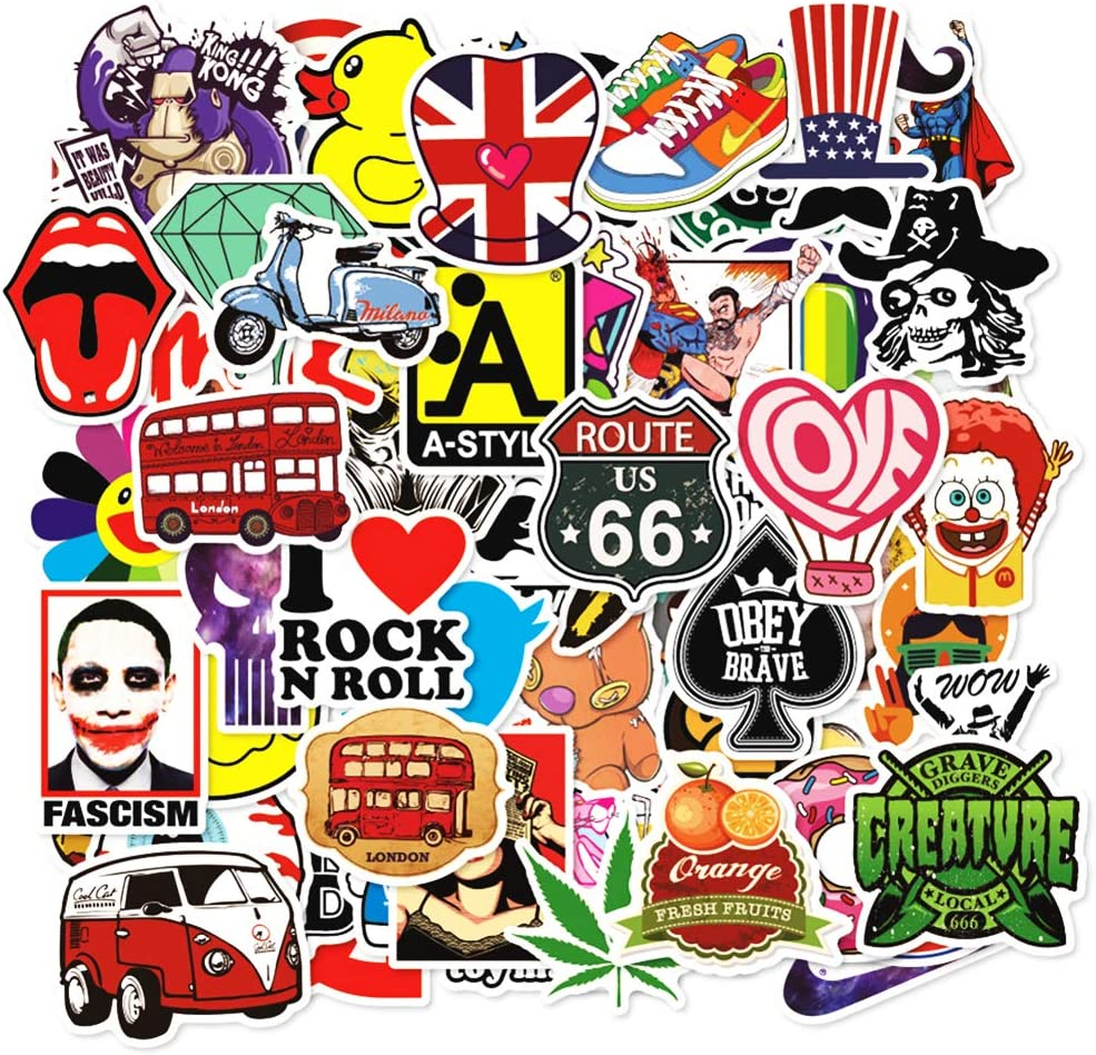Random 200 Stickers Pack 200 Pcs Suitcase Stickers Decals for Laptop Ipad Car Helmet Bumper Luggage Water Bottle