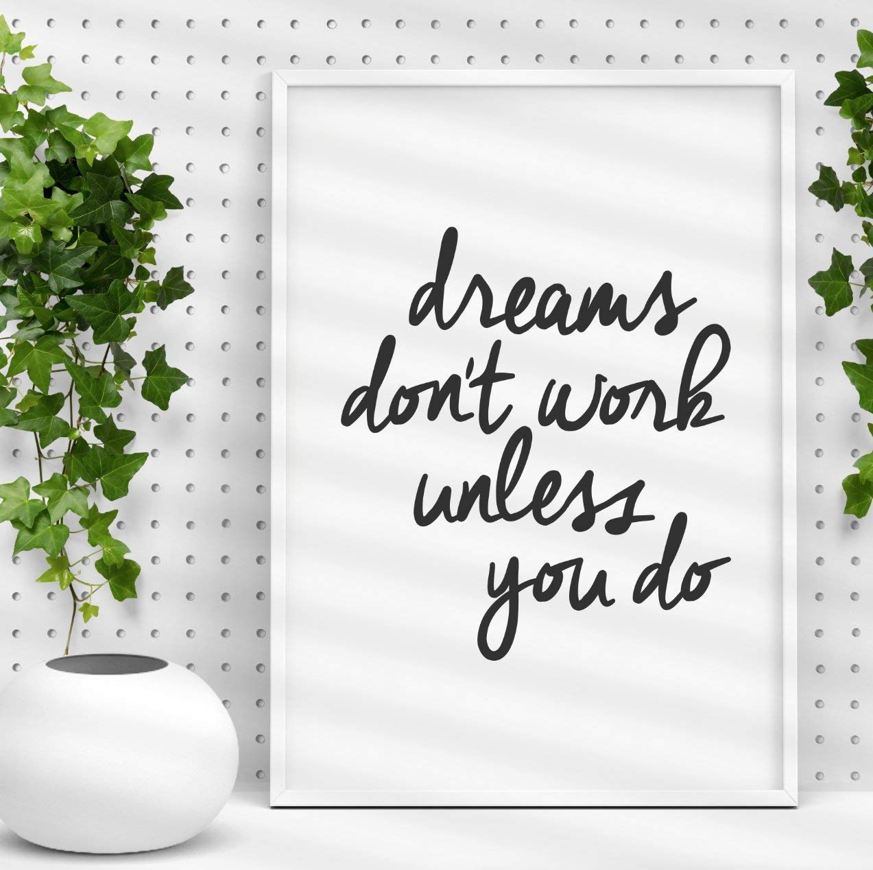 Amazon Com Dreams Don T Work Unless You Do Inspirational Print Home Decor Typography Poster Wall Art Handmade