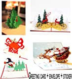 Christmas Cards 3D Pop Up Handmade Holiday Greeting Cards From Women, Wife, Girls, Husband, friend - 5 Cards,Envelopes&stickers