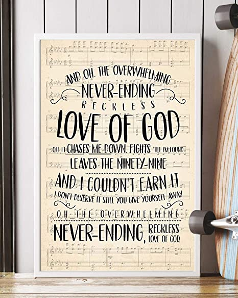 Reckless Love Song Lyrics Decor Portrait Poster Print (16