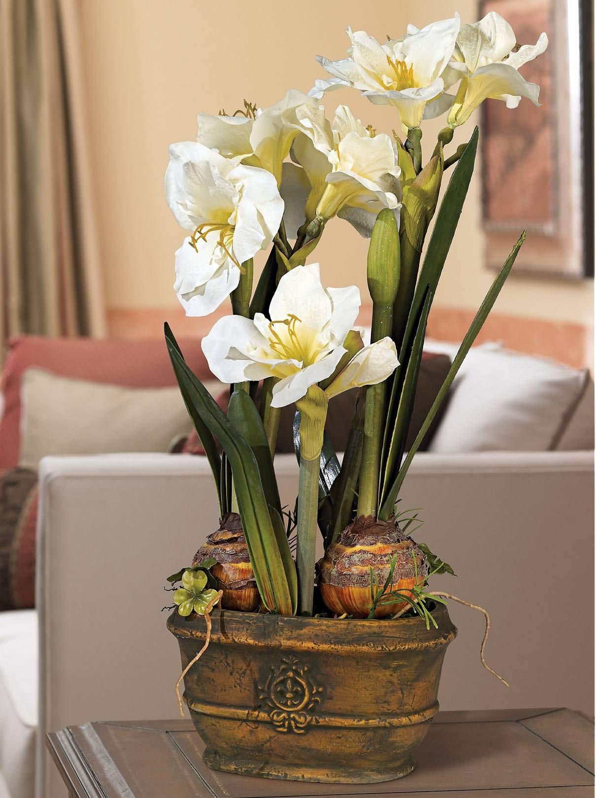"silk flower arrangements universal lighting and decor white amaryllis 25"" high faux flower arrangement - kensington hill"