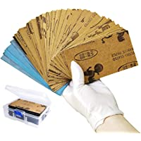 Schuurpapier gesorteerd vocht/droog, 108 stuks, korrel 60 tot 3000, 7,6 x 14 cm vellen schuurpapier met doos, voor het…