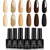 Beetles Gel Nail Polish Set - Roasted Chestnuts Collection 6 Colors Fall Winter Chocolate Brown Gel Polish Kit Neutral…