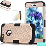 iPhone 6 Plus Case,iPhone 6S Plus Phone Case,HKW (TM) Bling Rhinestone 3 IN 1 Armor Shockproof Defender Case Cover for Apple iPhone 6/6S Plus 5.5 Inch Diamond Case (Gold/Black) (MA1619)