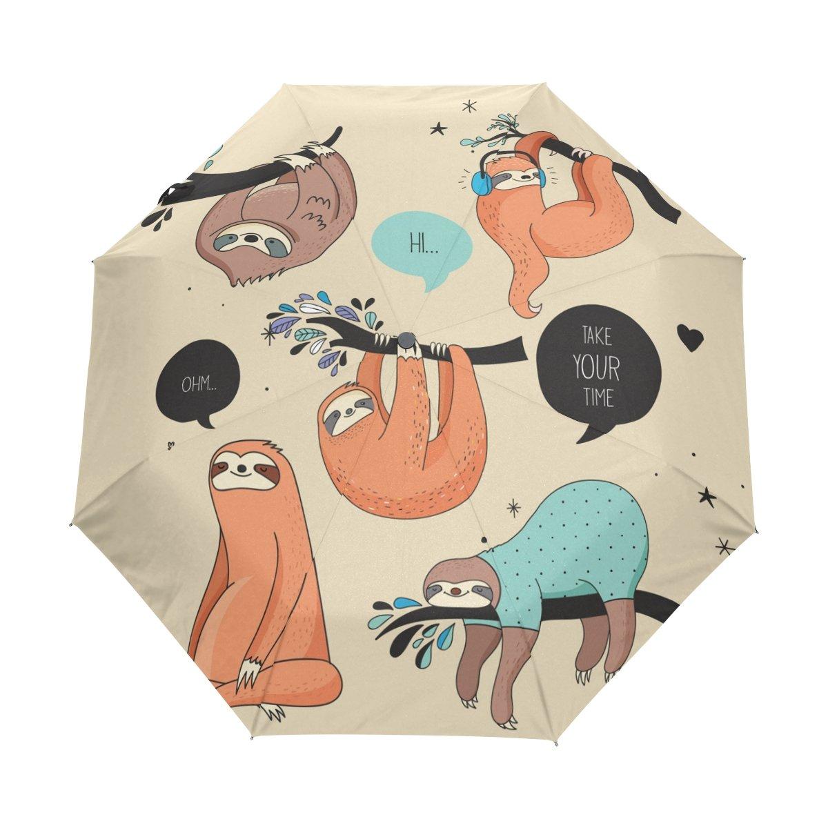 Senya Saobao防風と防雨トラベル傘で自動開いて閉じFolding漫画ナマケモノポータブル折りたたみ式太陽雨傘 B07FDW1GCV