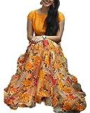 BMR Women's Yellow Paper Tissue Semi-stitched Lehenga Choli