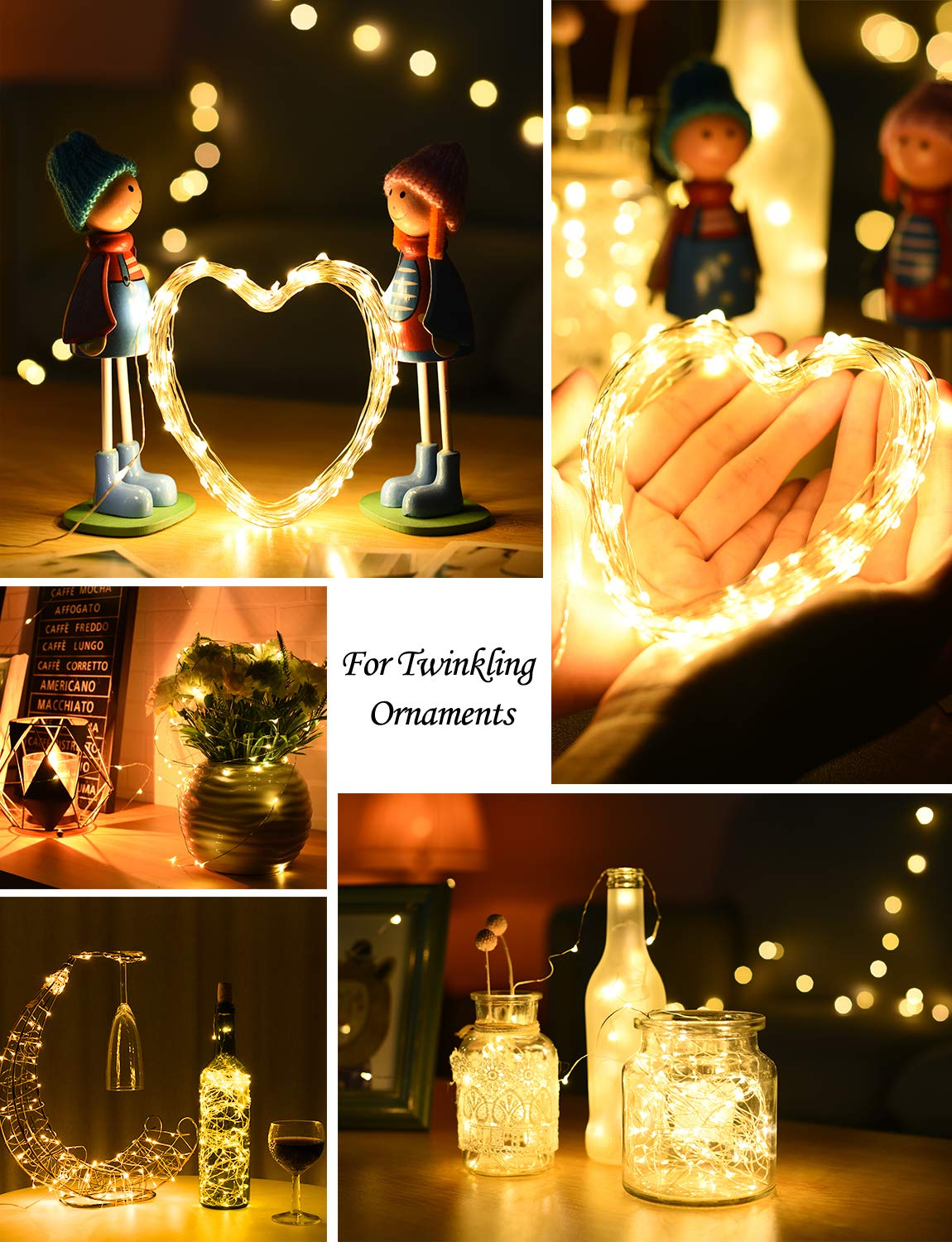 33ft Outdoor String Lights 8 Modes Waterproof Decorative Fairy Light for Patio Garden Gate Yard Party Wedding Christmas Thanksgiving Halloween 2 Pack Warm White LITOM 100 LEDs Solar String Lights