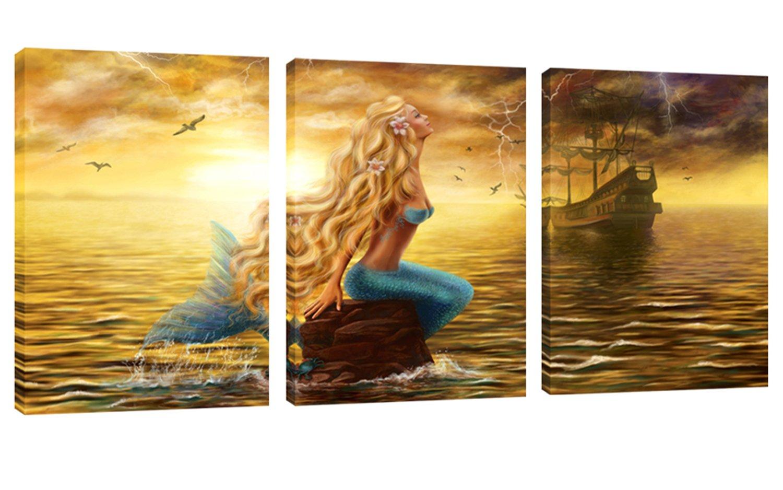Amazon.com: Mermaid Princess Paintings Wall Art Beautiful Mermaid ...