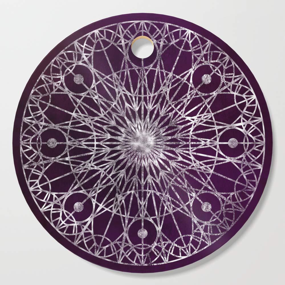 Society6 Wooden Cutting Board, Round, Rosette Window - Violet by erikfoxjackson
