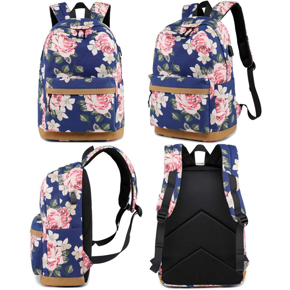 384c7aaec048d MORGLOVE Blumen Schulrucksack Mädchen Teenager Canvas Freizeit Groß  Rucksack Damen mit USB und Viel Platz für Schule Uni Dunkelblau  Amazon.de   Koffer