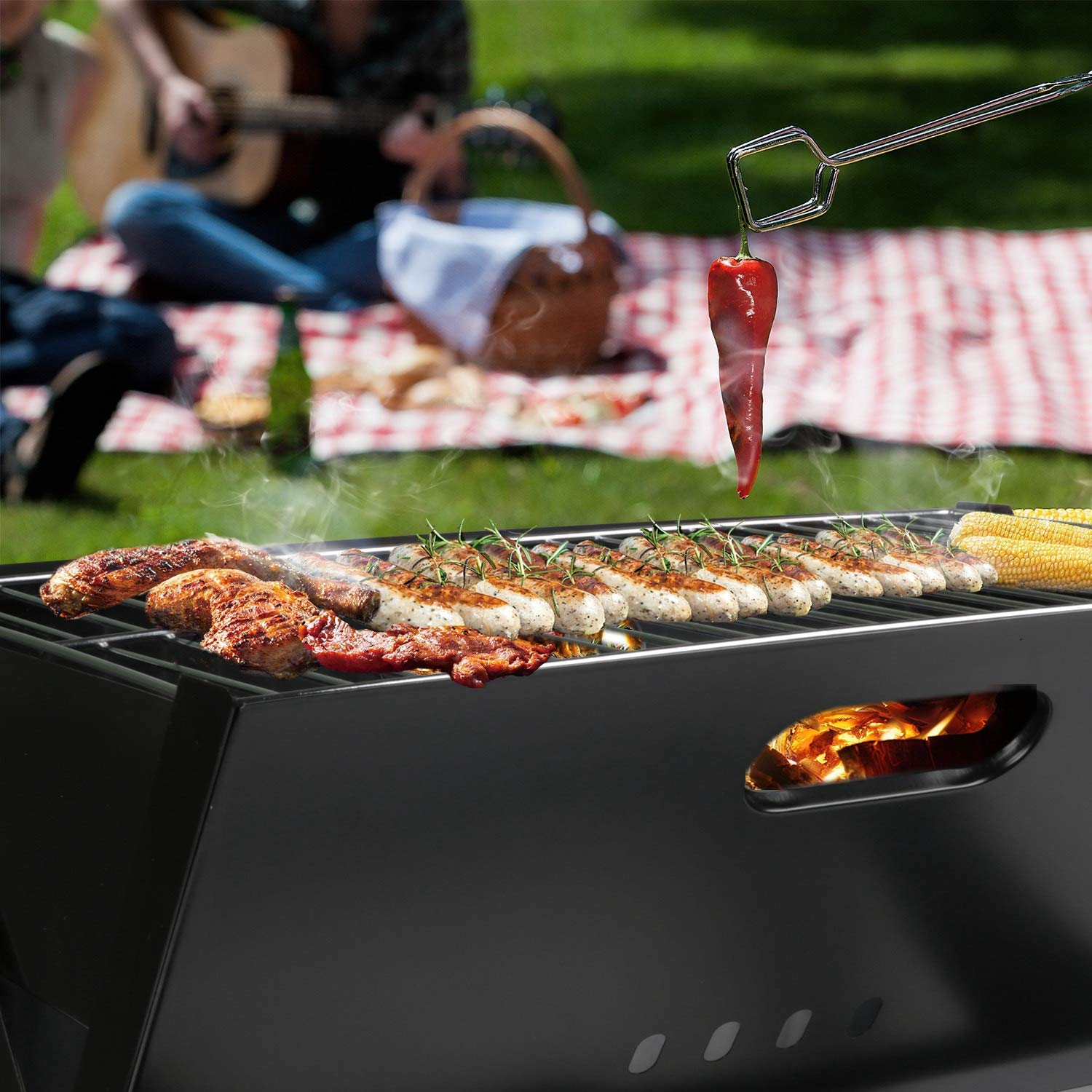 Hasika Barbecue Charcoal Grill Folding Portable Grills Lightweight Small BBQ Grills for Outdoor Picnics Camping Garden Cooking