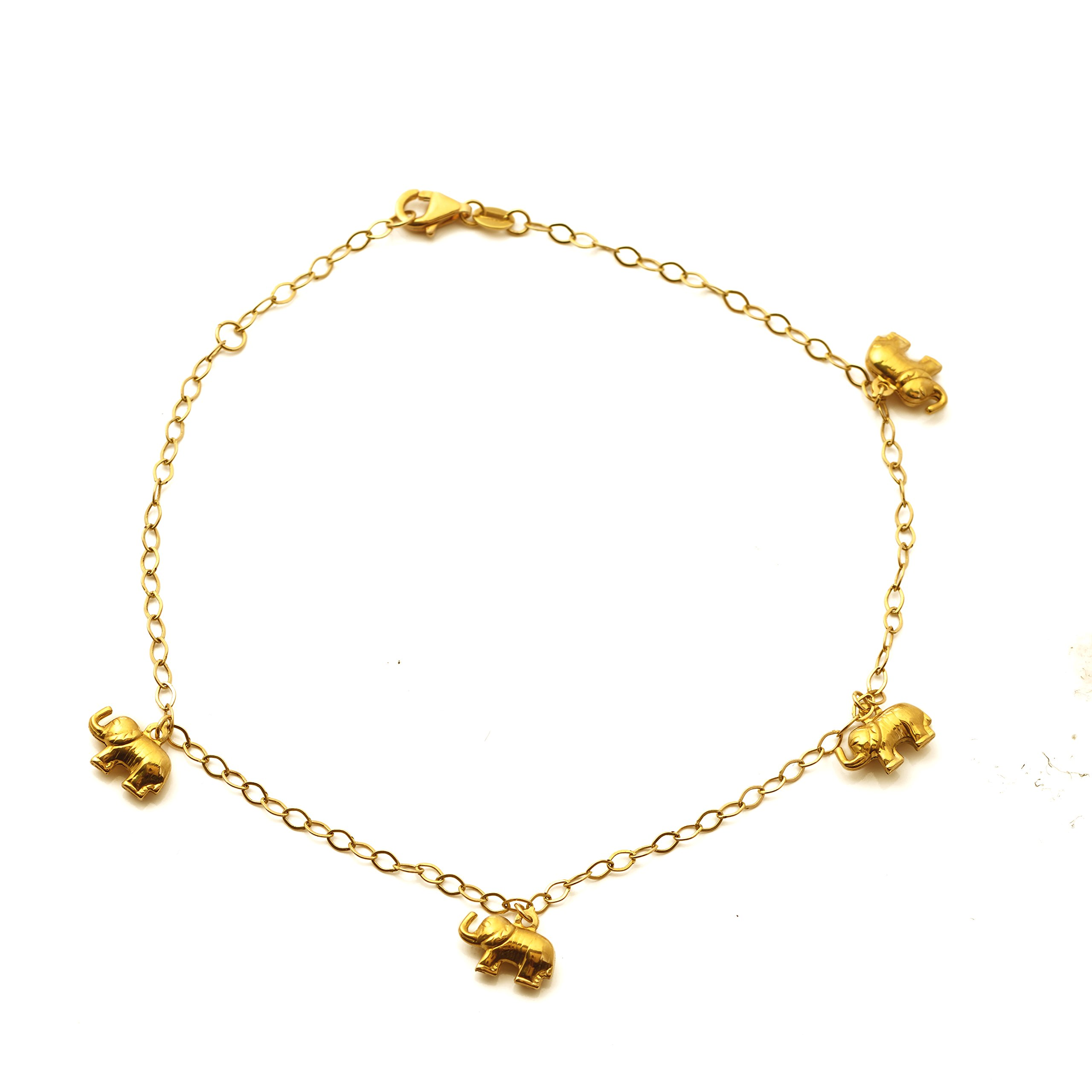 MR. BLING 10K Yellow Gold 2mm D/C Rolo Chain with 4 Elephant Charm Anklet Adj. 9'' to 10'' (#38)