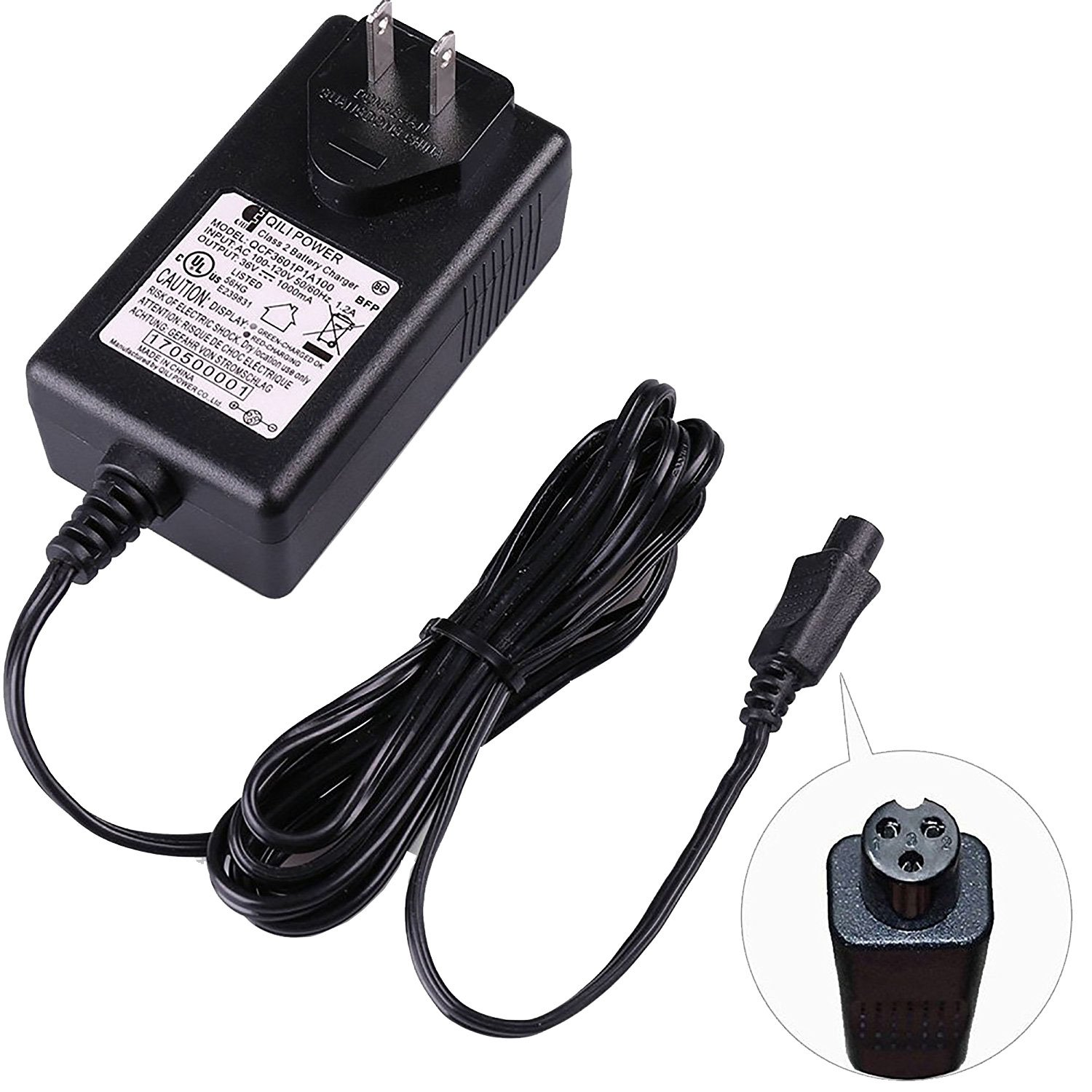 36V 1A Lithium Battery Charger - PREMIUM 36 Volt 1000mA Mini 3-Prong Replacement Charger for Razor HT 2.0, Swag T1, T3, T6, X1, Electric Scooters - QCF3601P1A100 - Razor Part W151550590140-42V MAX by Precision Auto Products