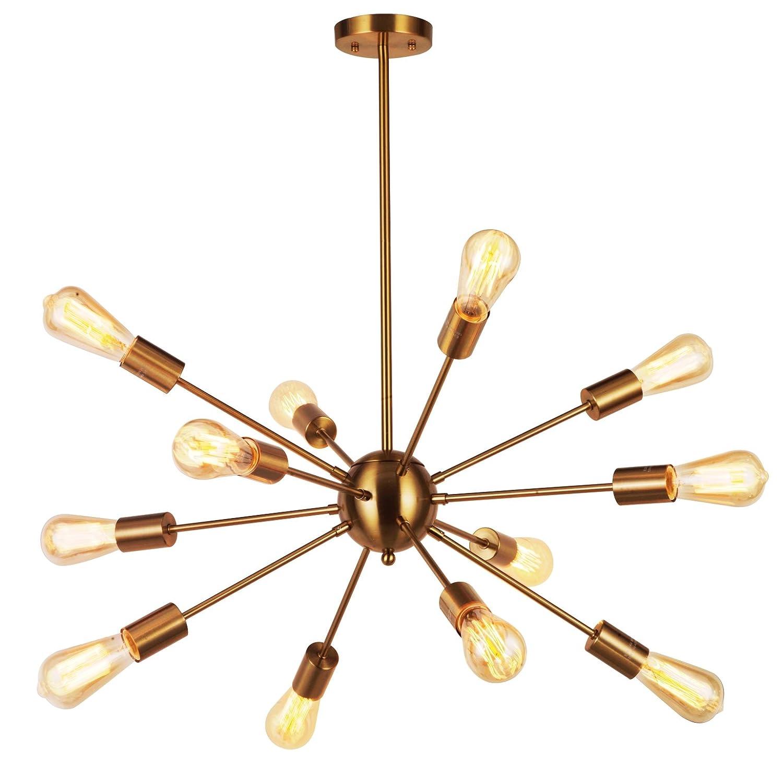 Amazon com modern pendant lighting 12 lights brushed brass starburst sputnik chandelier retro ceiling light fixture by tudolight home improvement