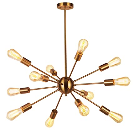Amazon modern pendant lighting 12 lights brushed brass modern pendant lighting 12 lights brushed brass starburst sputnik chandelier retro ceiling light fixture by vinluz mozeypictures Gallery