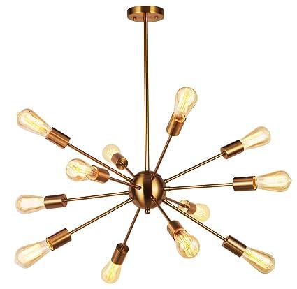 Amazon modern pendant lighting 12 lights brushed brass modern pendant lighting 12 lights brushed brass starburst sputnik chandelier retro ceiling light fixture by vinluz aloadofball Choice Image