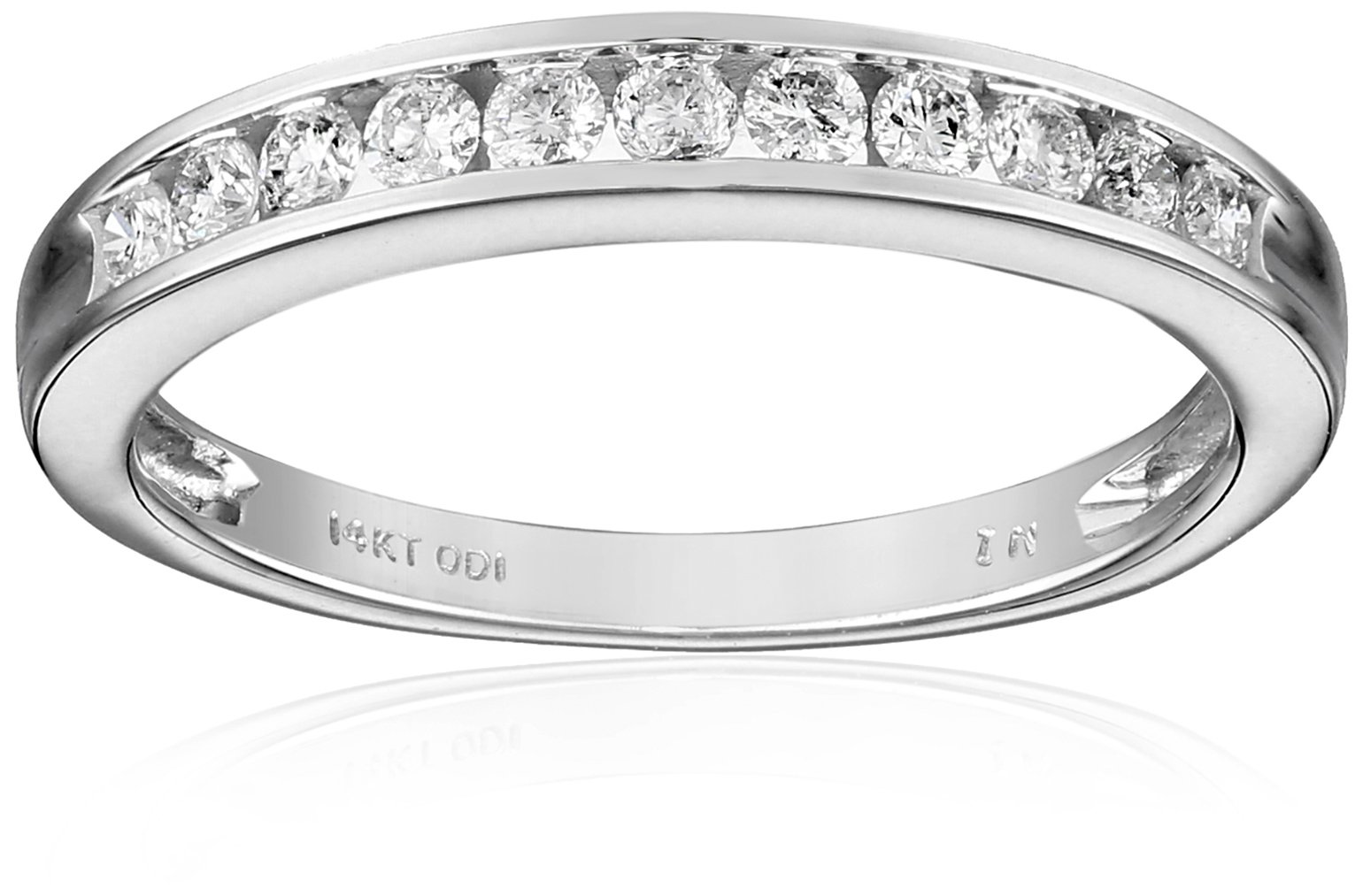 14k White Gold Round Diamond Anniversary Band (1/4 cttw, I-J Color, I2-I3 Clarity), Size 6